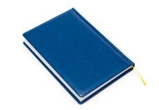 белизна голубой книги покрытая изолированная кожаная Стоковое Изображение