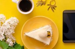 белизна губки предпосылки изолированная тортом Стоковые Изображения
