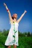 белизна девушки платья славная Стоковая Фотография