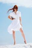 белизна девушки платья стоковые изображения