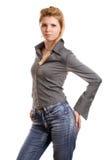 белизна девушки предпосылки белокурая Стоковое фото RF