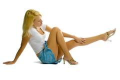 белизна девушки предпосылки сексуальная Стоковые Фотографии RF