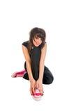 белизна девушки emo сидя Стоковая Фотография RF