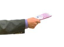 белизна дег руки евро предпосылки Стоковое Изображение RF