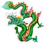 белизна дракона золотистая изолированная Стоковые Фото