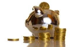 белизна евро монетки предпосылки Стоковые Изображения RF