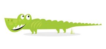 белизна зеленого цвета крокодила шаржа счастливая изолированная иллюстрация вектора