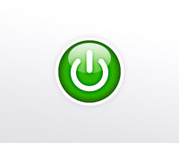 белизна зеленой силы кнопки предпосылки Стоковое Фото