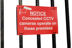 белизна знака деятельности cctv камер предпосылки Стоковые Изображения RF
