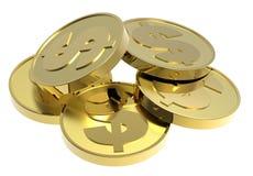белизна золота монеток предпосылки изолированная Стоковое Изображение RF