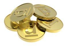 белизна золота монеток предпосылки изолированная Стоковое Изображение