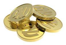 белизна золота монеток предпосылки изолированная Стоковое фото RF