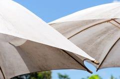 белизна зонтика пар стоковые изображения rf