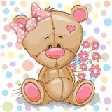 белизна игрушечного девушки медведя предпосылки иллюстрация штока