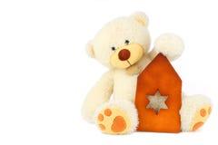 белизна игрушечного медведя Стоковые Фото