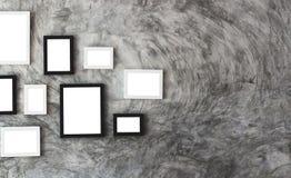 Белизна изолировала место картинной рамки на мраморной стене Стоковое фото RF
