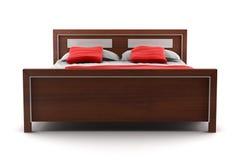 белизна изолированная кроватью Стоковые Фото