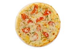 Белизна изолированная пиццей Стоковая Фотография RF