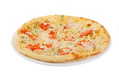 Белизна изолированная пиццей Стоковое Изображение