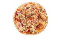 Белизна изолированная пиццей Стоковое Фото