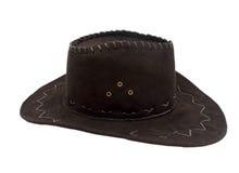 белизна изолированная черной шляпой кожаная Стоковая Фотография RF