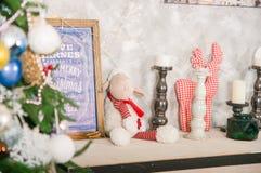 белизна изоляции декора рождества Большая яркая живущая комната рождество моя версия вектора вала портфолио стоковое фото