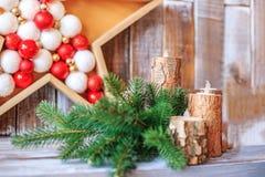 белизна изоляции декора рождества Концепция счастливого рождеств, Новый Год, праздник, Стоковые Фото
