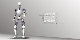 Белизна искусственного интеллекта робота для предпосылки, clipart вектора Стоковые Изображения