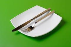 белизна квадрата плиты ножа вилки Стоковое Изображение RF