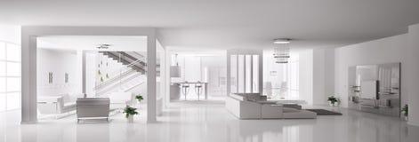 белизна квартиры 3d нутряная Стоковое Фото