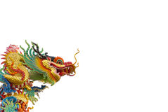 белизна китайского дракона предпосылки золотистая изолированная Стоковая Фотография RF