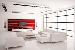 белизна комнаты интерьера 3d живя красная Стоковое Изображение RF