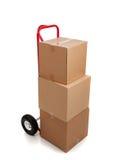 белизна коричневого картона коробки двигая Стоковые Изображения