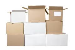 белизна коричневого картона коробок различная Стоковое фото RF