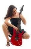 белизна красивейшей гитары девушки красная Стоковые Изображения RF