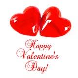 белизна красного цвета 2 сердец предпосылки Стоковые Фотографии RF