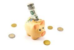 белизна кредитки банка изолированная долларом piggy Стоковое Изображение