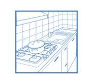 белизна кухни иконы Стоковая Фотография RF