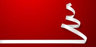 Белизна ленты рождественской елки Стоковая Фотография