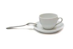 белизна ложки поддонника чашки Стоковые Изображения