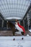 белизна лошади девушки платья Стоковые Фото