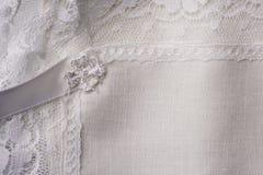 белизна макроса предпосылки linen Стоковые Фотографии RF