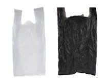 белизна мешка черная пластичная Стоковая Фотография