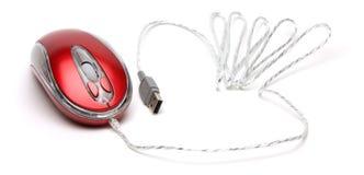 белизна мыши компьютера предпосылки красная Стоковое Изображение RF