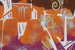 белизна надписи на стенах померанцовая розовая Стоковое Фото