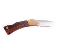 белизна ножа предпосылки складывая карманная Стоковое фото RF