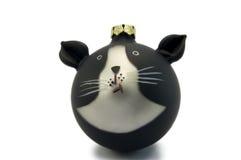 белизна орнамента черного кота Стоковые Изображения