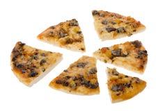 белизна отрезанная пиццей стоковая фотография