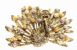 белизна павлина драгоценности предпосылки изолированная золотом sh Стоковые Изображения