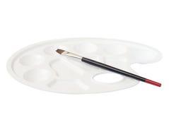 белизна палитры paintbrush пластичная Стоковые Фото